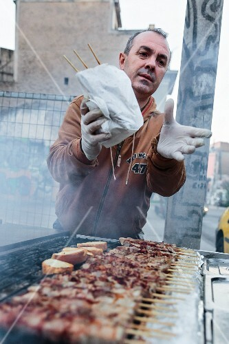 Grilled pork skewers being sold in Athens, Greece