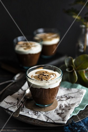 Chocolate mousse with coffee cream in a glass