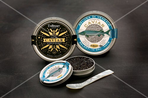 Tins of caviar and a mother-of-pearl spoon