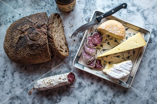 Cheese, cold meats and bread
