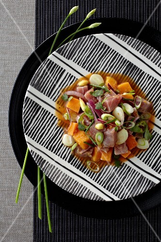 Ceviche with marinated tuna fish, sweet potatoes, sweetcorn, avocado and spring onions