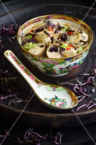 Glass noodle soup with radish sprouts and chilli rings (China)