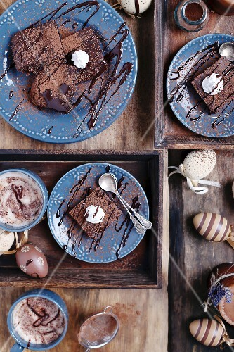 Brownies with cacao and raisins for Easter