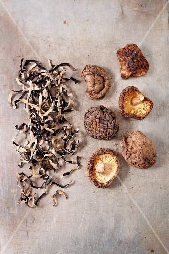 Various dried Asian mushrooms