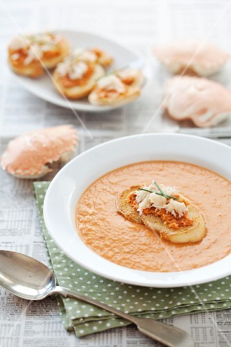 Tomato and fennel soup with crab toasts