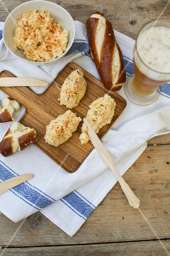 Obazter (Bavarian cheese spread), lye bread baguettes and beer