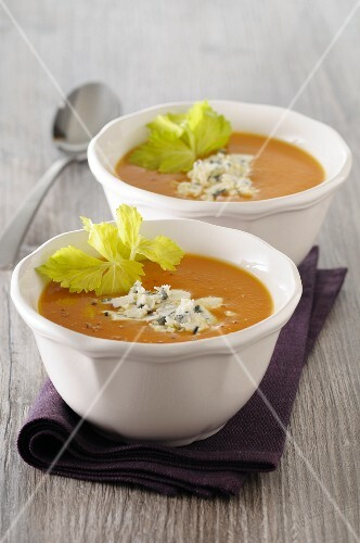Cream of carrot soup with Roquefort