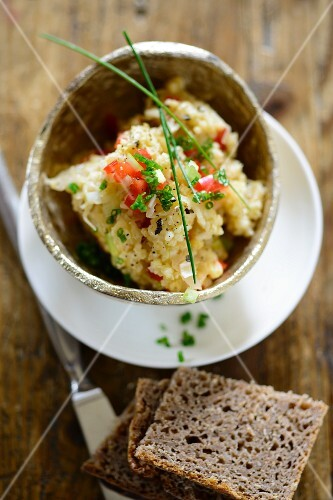 Millet spread with sauerkraut and a slice of wholemeal bread