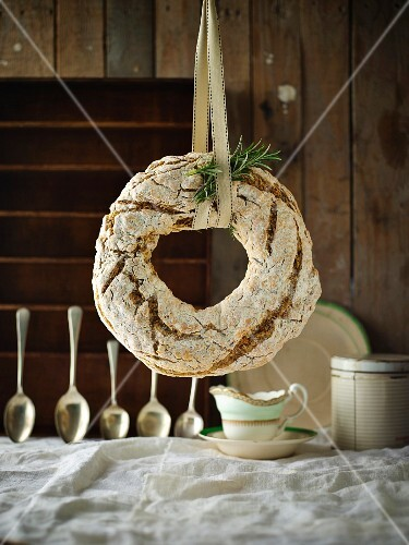 Ring of soda bread with rosemary, brown butter and coarse pepper baked for St. Patrick's Day