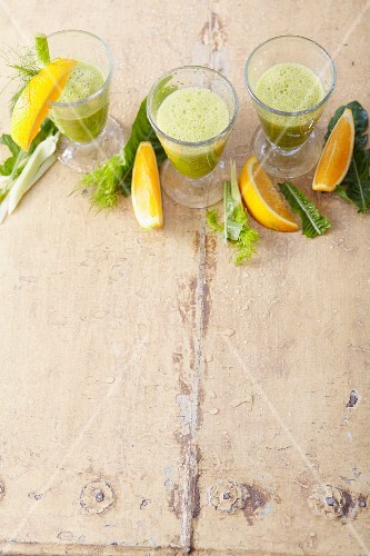 Orange and vegetable smoothie with aloe vera