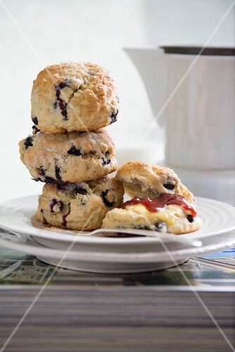 Freshly baked blueberry scones