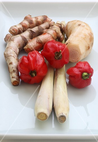 Turmeric roots, galangal, lemongrass and chilli Peppers