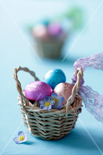 Chocolate eggs in a basket