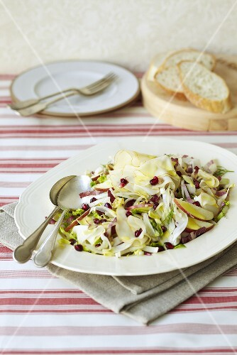 An apple, fennel, pomegranate seed and cheese salad