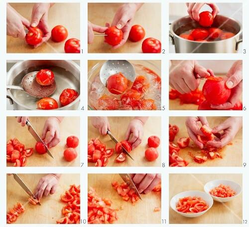 tomaten blanchieren die haut entfernen und kleinschneiden. Black Bedroom Furniture Sets. Home Design Ideas
