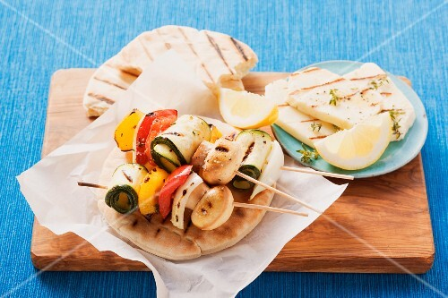 Grilled vegetable kebabs and halloumi from Cyprus