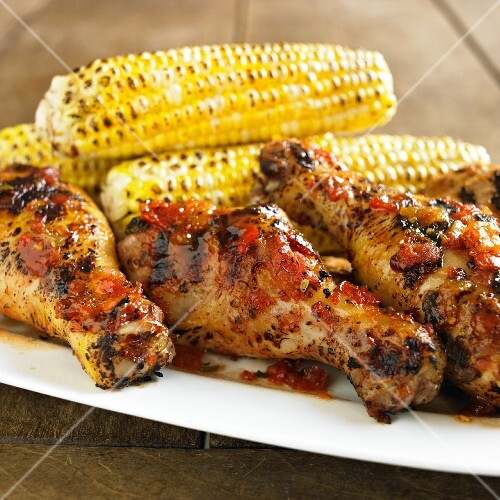 Montreal Salsa Chicken with Grilled Corn on the Cob; On Platter