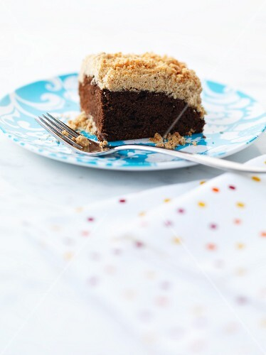 A slice of chocolate crumble cake