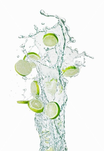Slices of lime and a splash of water