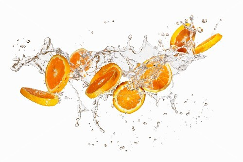 Orange slices in a splash of water