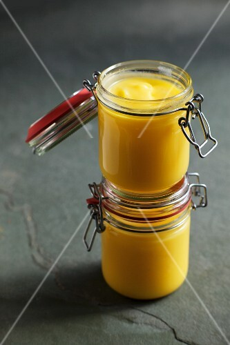 Jars of ghee (Indian clarified butter)