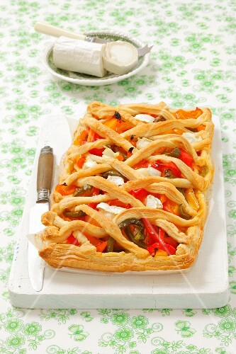 A puff pastry tart with peppers and goat's cheese