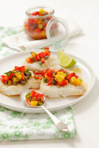 Halibut with a pepper, caper and tomato salsa
