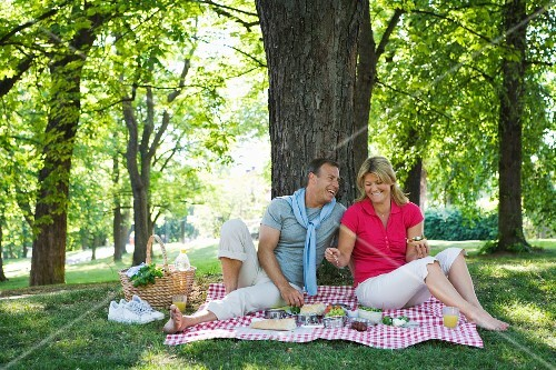 A couple having a picnic under a tree