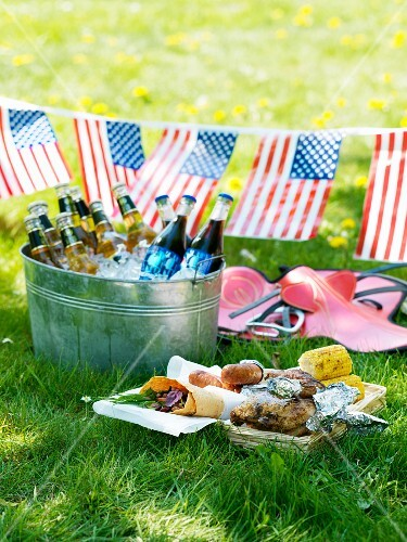 A grill platter and chilled drinks for 4th July (USA)