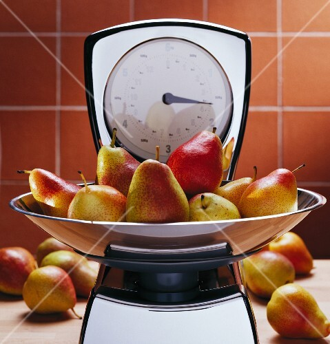Pears on kitchen scales