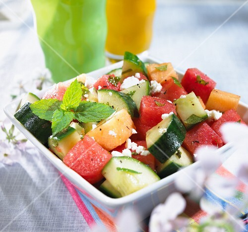 ... , Cantaloupe, Cucumber and Mint Salad with Feta Cheese – StockFood