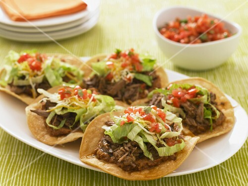 Platter of Beef Tostadas; Bowl of Salsa