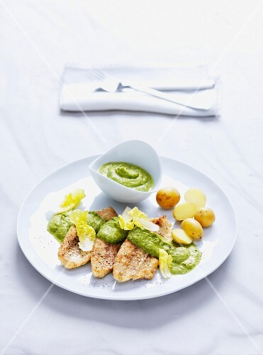 Perch with creamed lettuce and potatoes