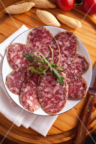 Iberian hard sausage, sliced