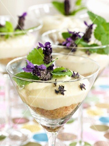 Cheesecake with lavender in a dessert glass
