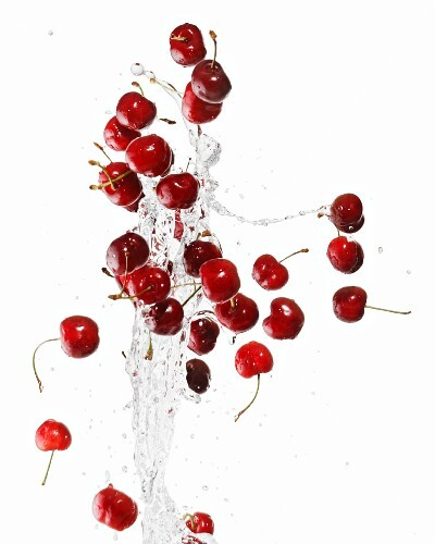 Cherries with a splash of water