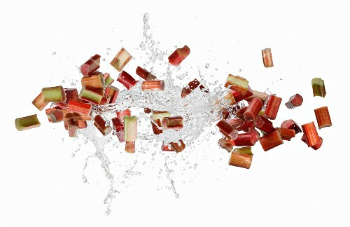 Rhubarb slices with a water splash