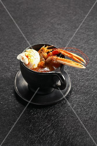 Norway lobster soup with a scoop of vanilla-saffron ice cream