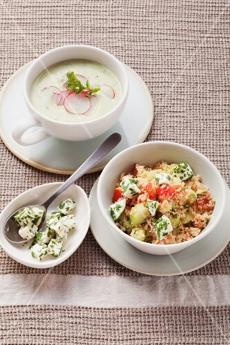 Cream of potato soup with radishes and vegetable couscous with mozzarella
