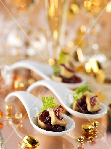 Foie gras with onion jam on a spoon