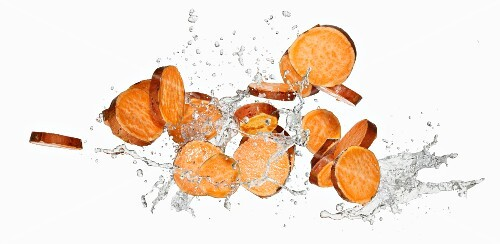 Slices of sweet potato and water