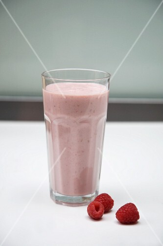 Raspberry Smoothie in a Glass; Fresh Raspberries
