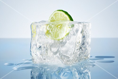 Lime in a block of ice