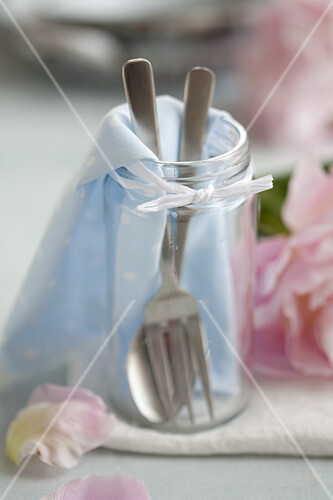 Cutlery in a preserving jar