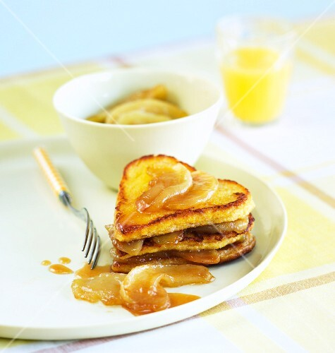 French toast with caramelized apples for Valentine's Day