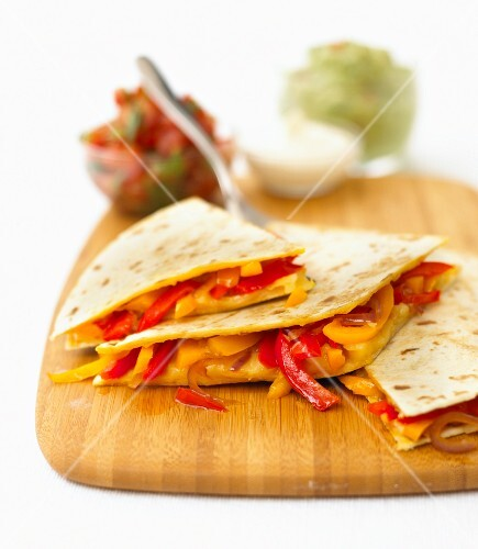 Quesadillas filled with peppers