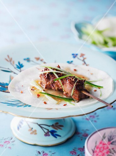 Lamb kebab with spring onions