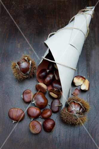 Sweet chestnuts in a paper cone