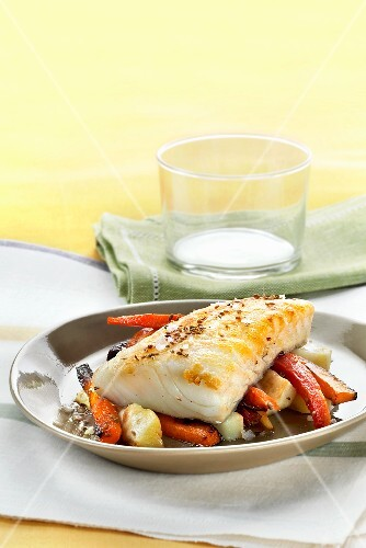 Cod with a carrot and potato medley