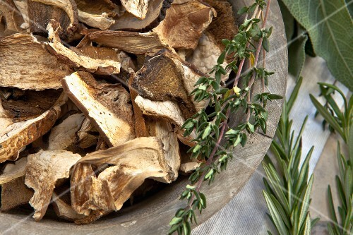 Dried porcini mushrooms and herbs